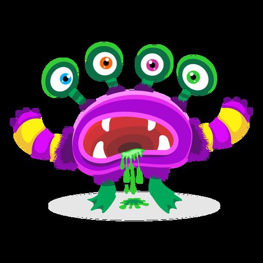 Ilustración de monstruo de cuatro ojos Transparent PNG