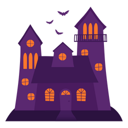 Ilustración de la casa espeluznante de Halloween