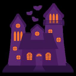 Ilustración de casa fantasmagórica de Halloween