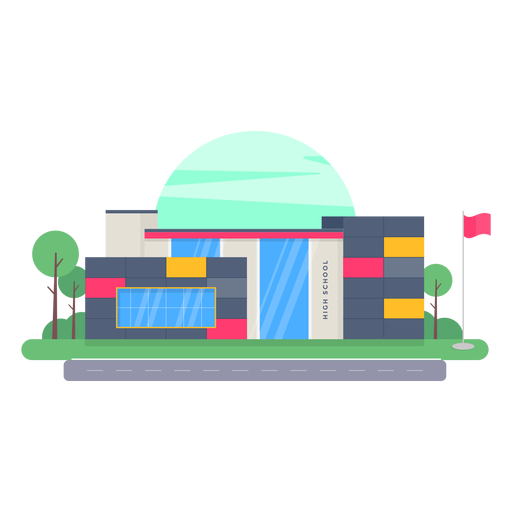 High school building design Transparent PNG