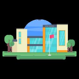 Ilustración de edificio de escuela secundaria