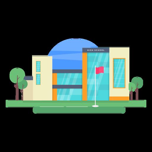 High school building illustration Transparent PNG