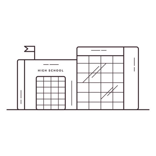 High school building stroke icon Transparent PNG