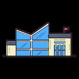 Icono de edificio de la escuela secundaria moderna