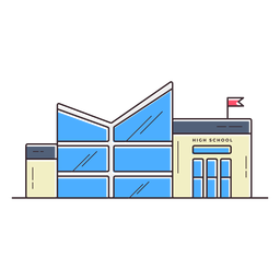 Modern high school building icon