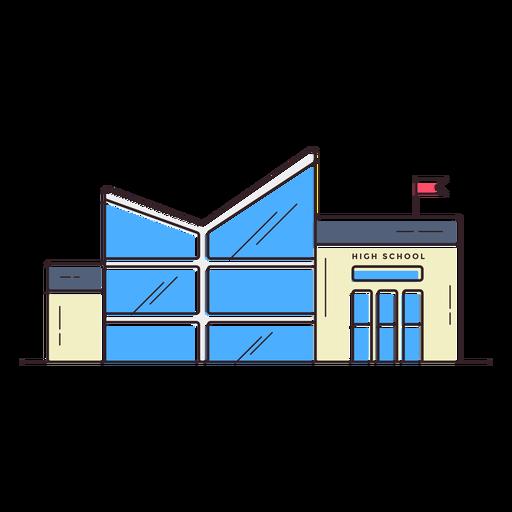 Icono de edificio de escuela secundaria moderna