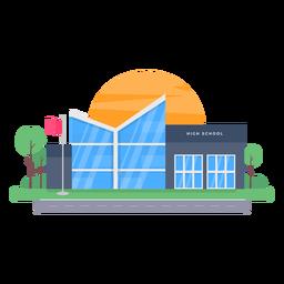 Ilustración de edificio de escuela secundaria moderna