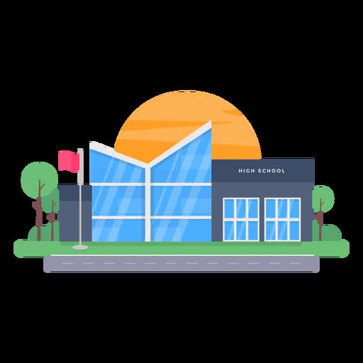Modern high school building illustration Transparent PNG