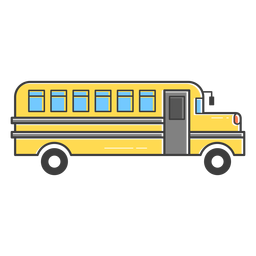Ícone de traço colorido de ônibus escolar