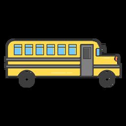 Icono de trazo coloreado de autobús escolar