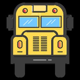 Opinião dianteira do ônibus escolar colorida
