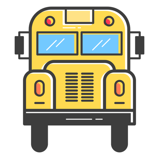Vista frontal del autobús escolar de color