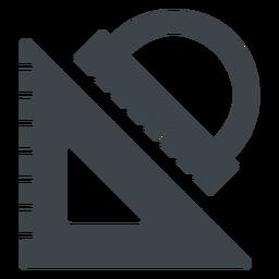 Icono plano triángulo y transportador