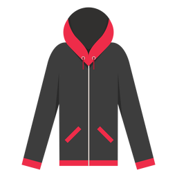 Zip pockets hoodie icon