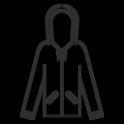 Ícone de traço de capuz de bolsos com zíper
