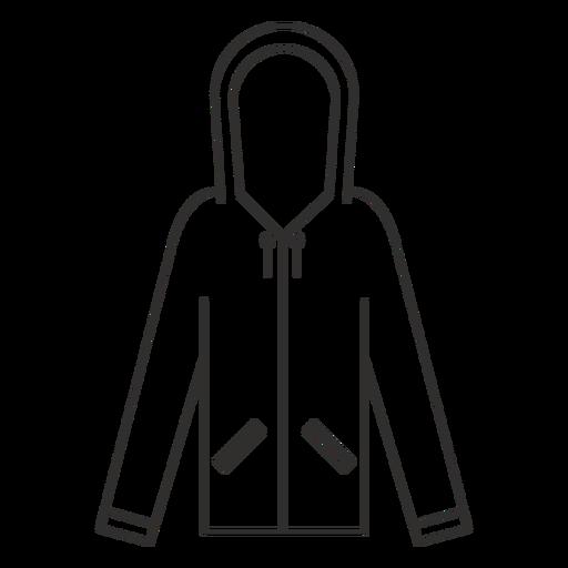 Ícone de traço de capuz de bolsos com zíper Transparent PNG
