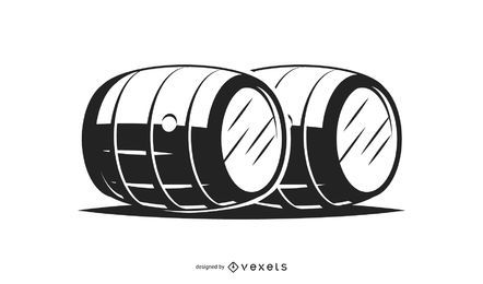 Wooden barrels illustration