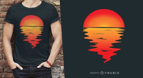 Por do sol que reflete no design do t-shirt da água
