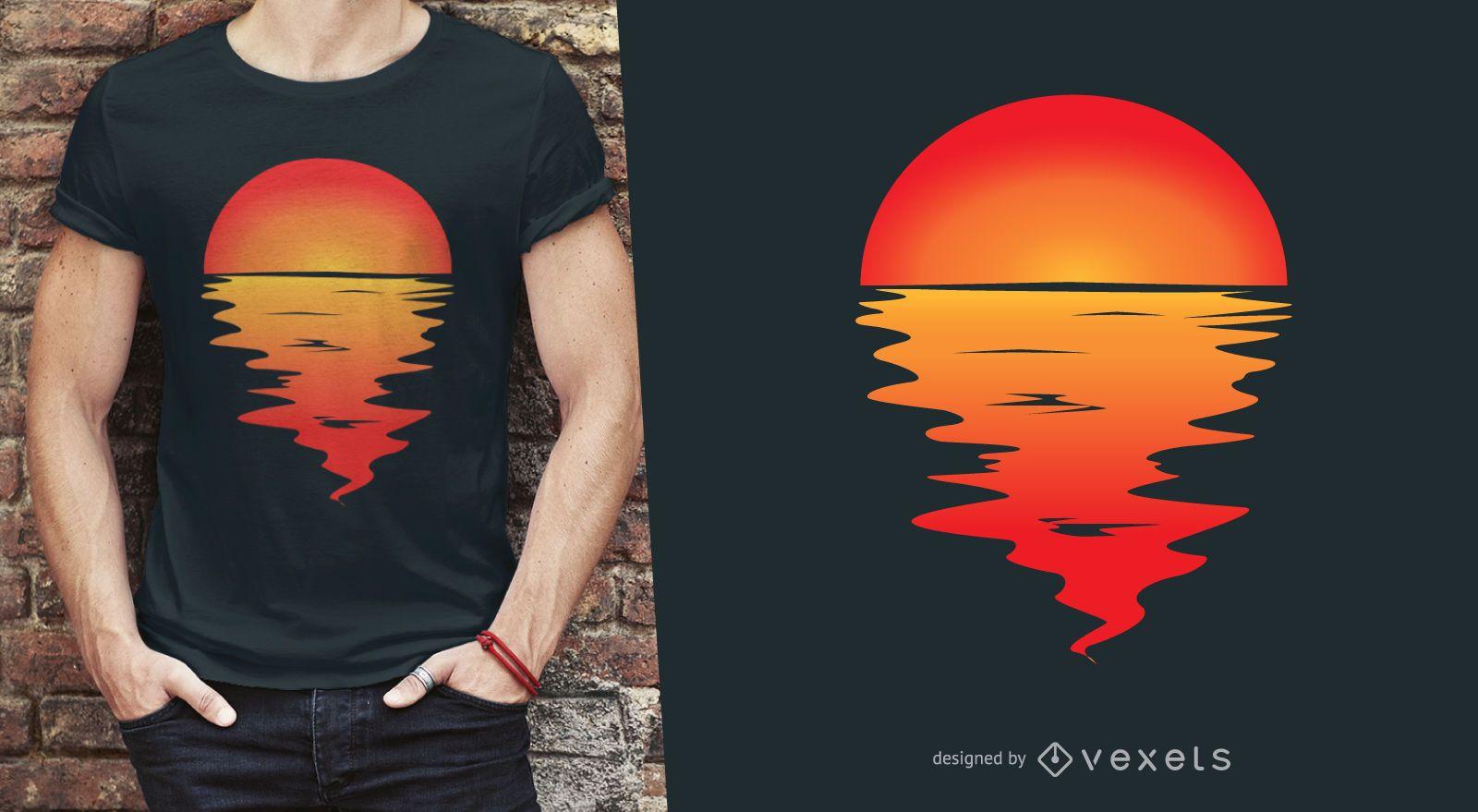 Design de camiseta refletindo na água do pôr do sol