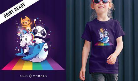 Animais fofos que montam o projeto do t-shirt do arco-íris