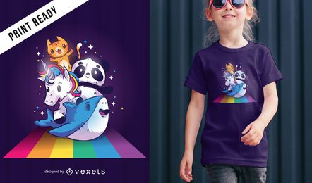 Cute Animals Riding Rainbow camiseta diseño