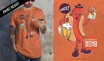 Oktoberfest 2018 Bebiendo Comiendo Salchicha Wiener Cartoon T-shirt Design