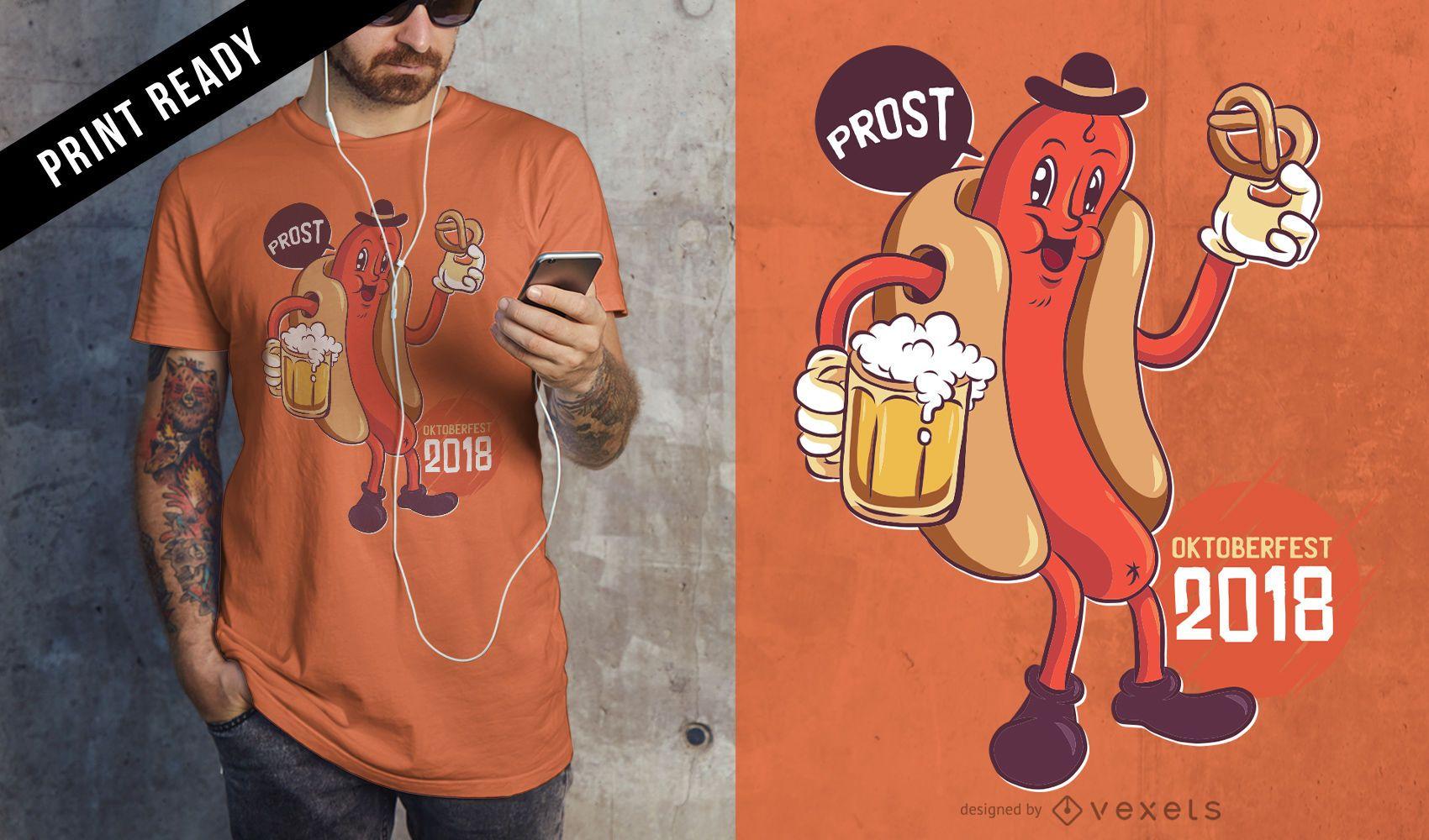 Oktoberfest 2018 Trinken Essen Wurst Wiener Cartoon T-Shirt Design