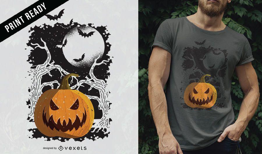 Projeto do t-shirt do Dia das Bruxas da abóbora do vintage