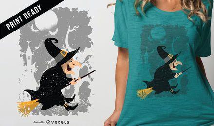 Weinlese-Hexe-Karikatur-Halloween-T-Shirt Design
