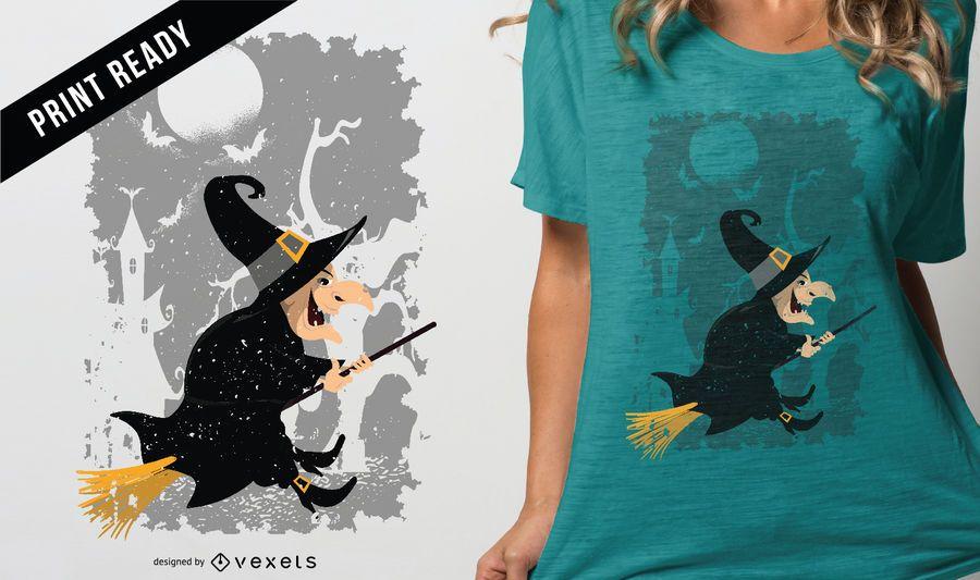 Diseño de la camiseta de Halloween de la historieta de la bruja del vintage