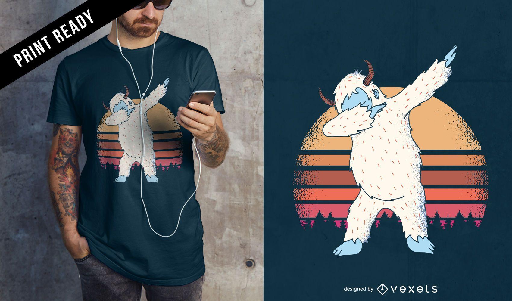 Diseño de camiseta Dabbing Yeti Sunset Funny Meme