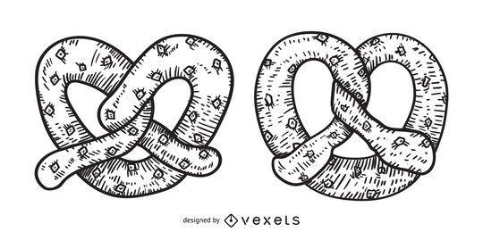 Ilustração de mão-extraídas de pretzel