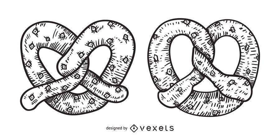 Pretzel dibujado a mano ilustración