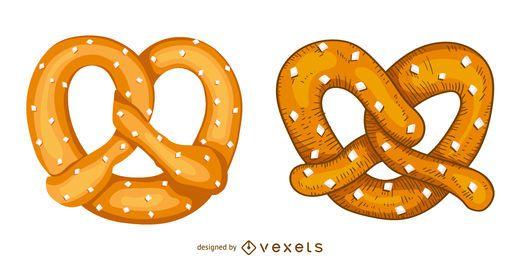 Conjunto de ilustración de pretzel