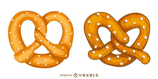 Pretzel illustration set