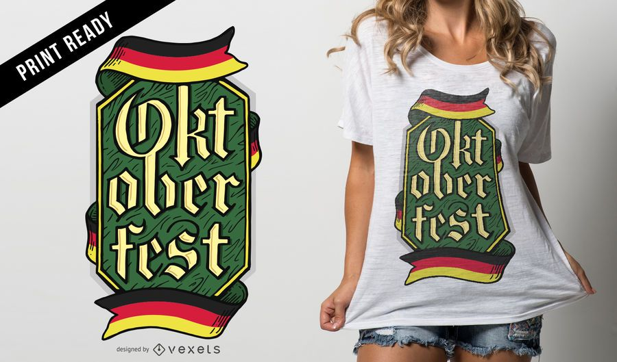 Diseño de camiseta Oktoberfest emblema.