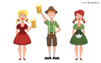 Conjunto de personajes de Oktoberfest
