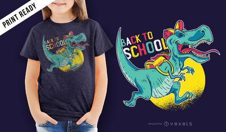 De volta ao projeto do t-shirt das crianças do dinossauro da escola