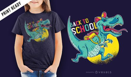 Volver a la escuela dinosaurio niños camiseta diseño