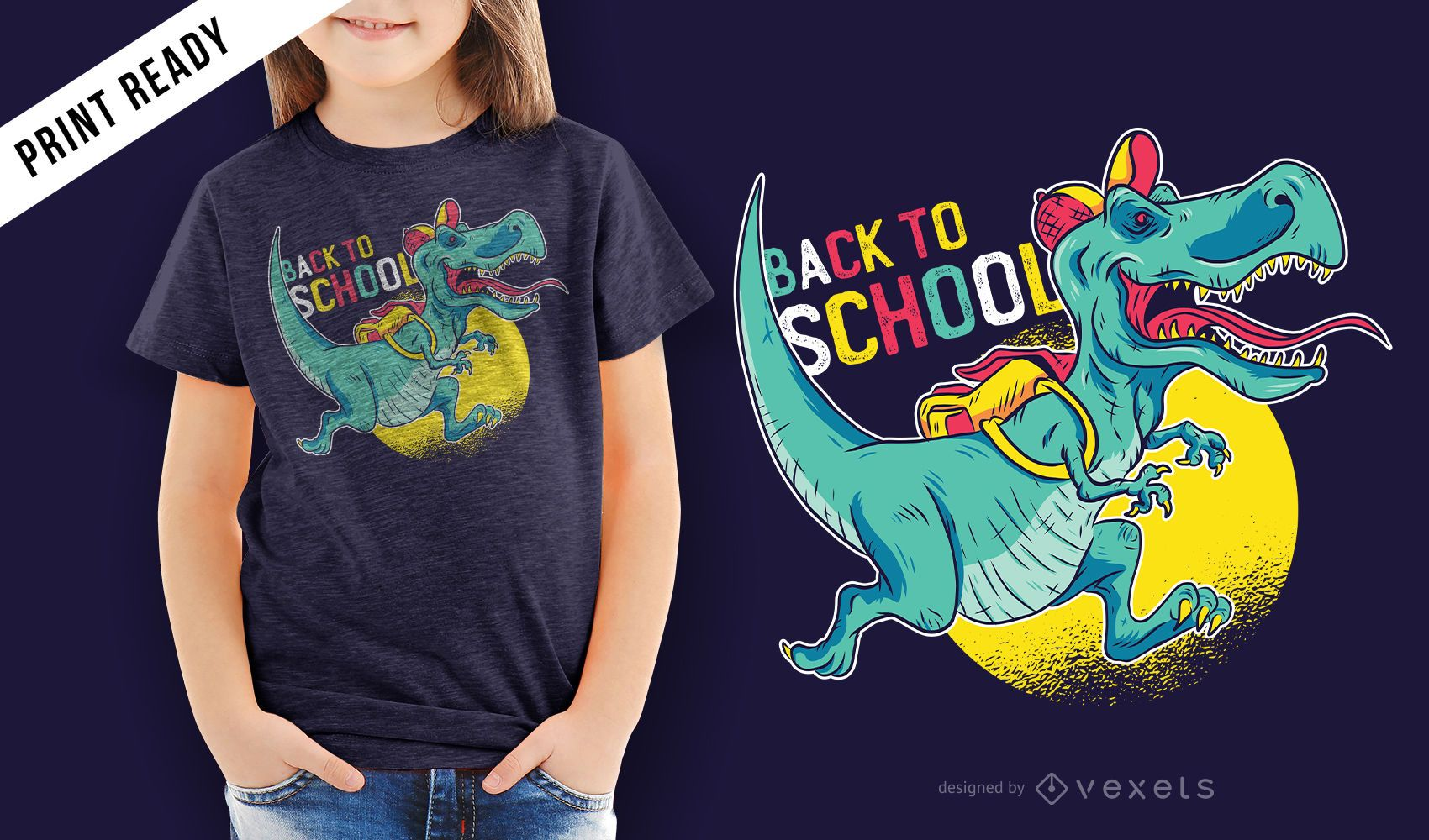 Diseño de camiseta para niños de dinosaurio de regreso a la escuela