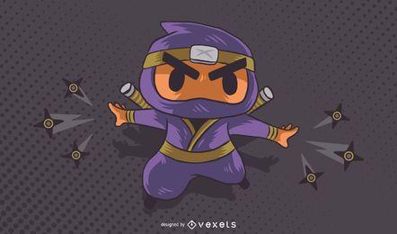 Dibujos animados de carácter ninja