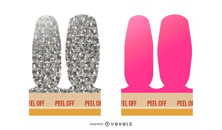 Peel off nails illustration set