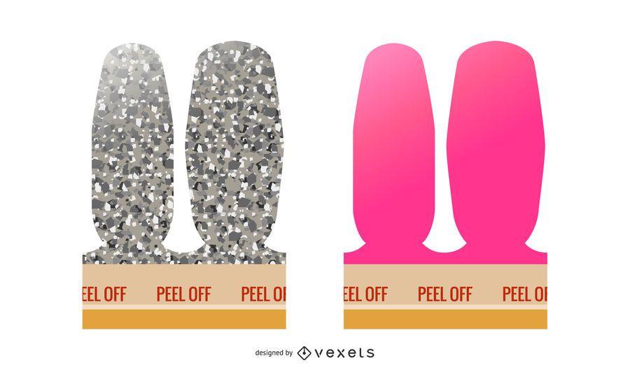 Peel off nails illustration set