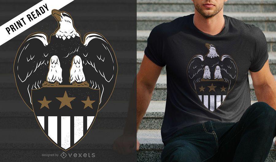 Design de t-shirt de escudo de águia
