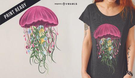 Diseño de camiseta de medusas y flores.