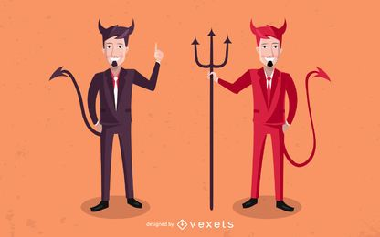 Conjunto de caracteres de empresários de diabo