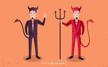 Conjunto de caracteres de hombres de negocios del diablo