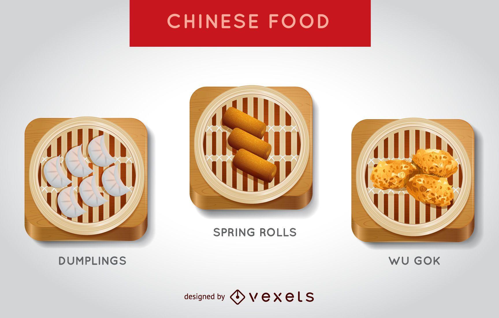 Realistic Chinese food illustration set