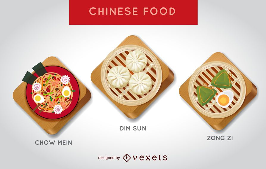 Conjunto de ilustração de comida chinesa