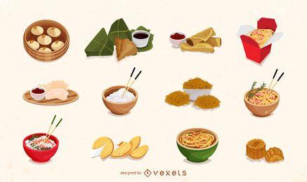 Conjunto de ícones de comida chinesa